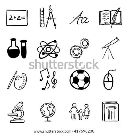 Vector Set Black School Subjects Icons Stock Vector