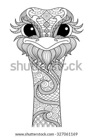 Hand Drawn Zentangle Ostrich Coloring Pagelogo Stock