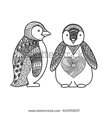 Two Penguins Line Art Design Coloring Stock Vector