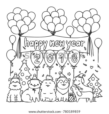 Hand Drawn Cute Dogs Happy New Stock Vector 780189859