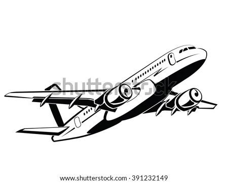 Airplane Plane On Takeoff Passenger Plane Stock Vector