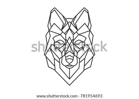 Geometric Wolf Logo Sketch Tattoo Stock Vector 781954693