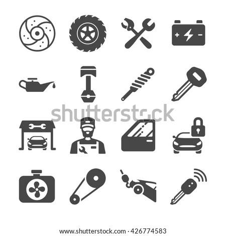 Car Parts Car Services Icon Set เวกเตอร์สต็อก 426774583