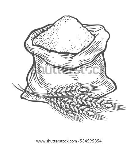 Sack Whole Flour Sugar Ear Wheat Stock Vector 474102208