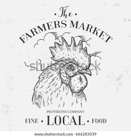 Farmers Market Emblem Rooster Cock Head Stock Vector