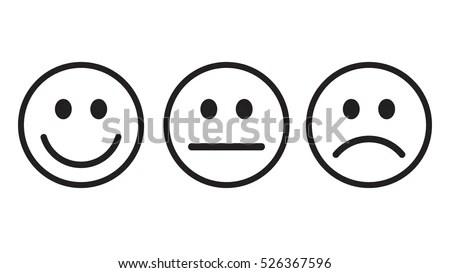 Smiley Icon Outline Set Vector Em Vetor Stock 526367596