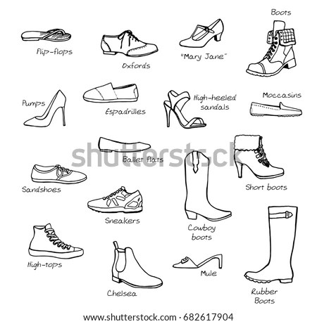 Set Hand Drawn Womens Shoes Outline Stock Vector 58840324