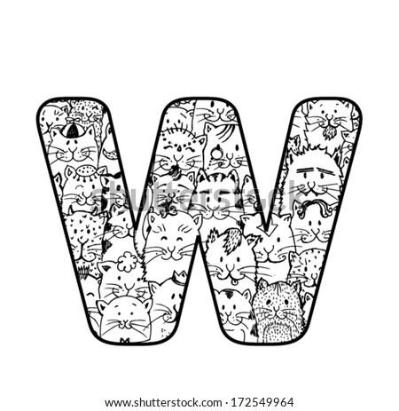 Cute Vector Cat Alphabet Letter M Stock Vector 172549955