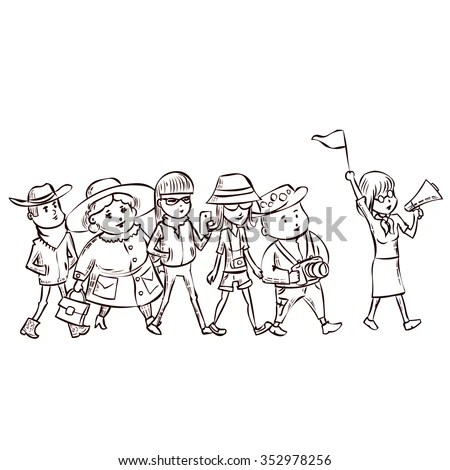 Tour Guide Group Turists Hand Drawn Stock Vector 352978256