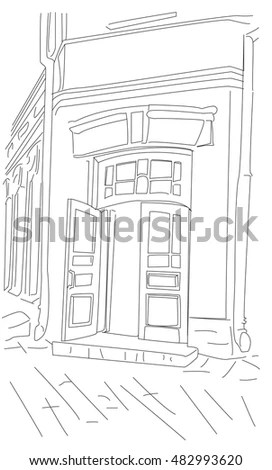 Fashion Store Hand Drawn Sketch Interior Stock Vector