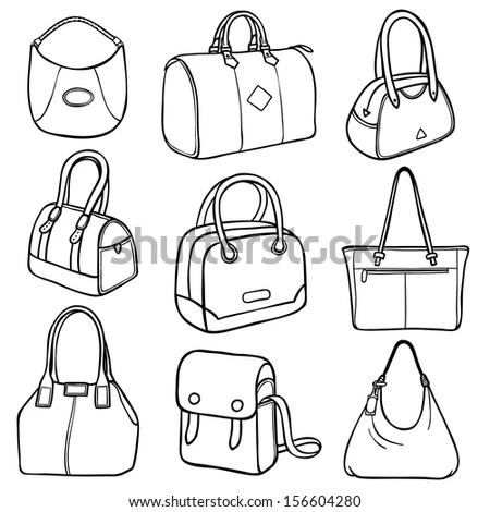 Vector Canvas Bags Mockup Handdrawn Style Stock Vector