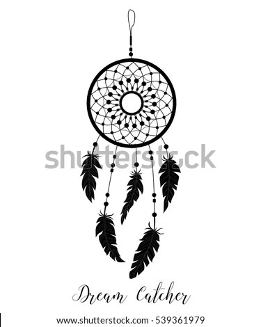 Dream Catcher Decorated Feathers Beads Hand Stock Vector