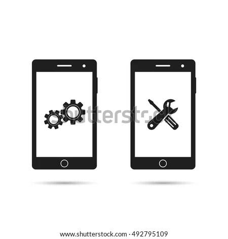 Mobile Phone Repair Icon Smartphone Repairing 库存矢量图