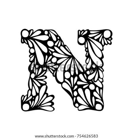 Decorative Handmade Font Lettering Floral Ornament Stock