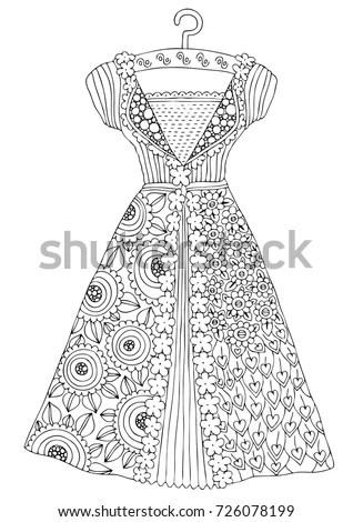 Hand Drawn Dress Sketch Antistress Adult Stock Vector