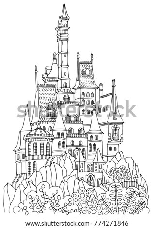 Old Castle Many Towers Hand Drawn Stock Vector 774271846