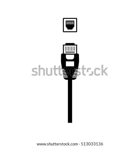 Ethernet Cable Network Port Vector Icon Stock Vector