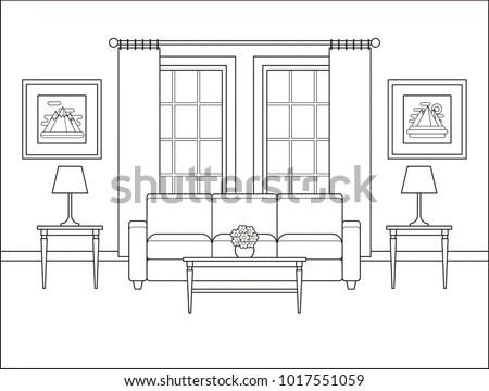 Living Room Interior Window Linear Room Stock Vector