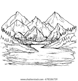 mountain lake landscape drawn trees pine forest mountains sketch shutterstock