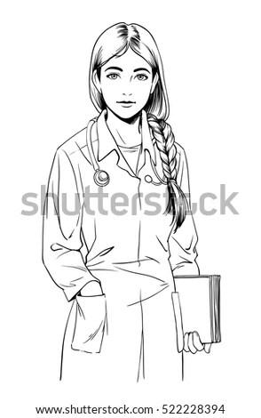 Sketch Little Girl Skirt Standing Looking Stock Vector