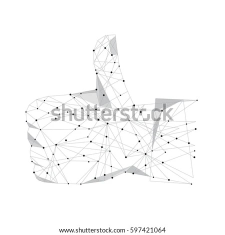 Abstract Hand Thumb High Tower Polygonal Stock Vector