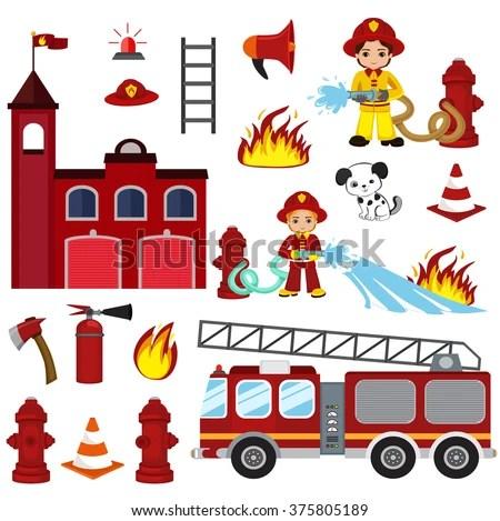 Vector Cartoon Illustration Firefighting Characters Hose