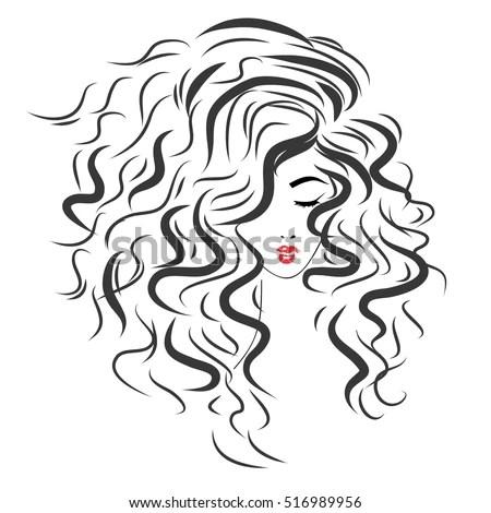 Vector Sketch Beautiful Girl Long Curly Stock Vector