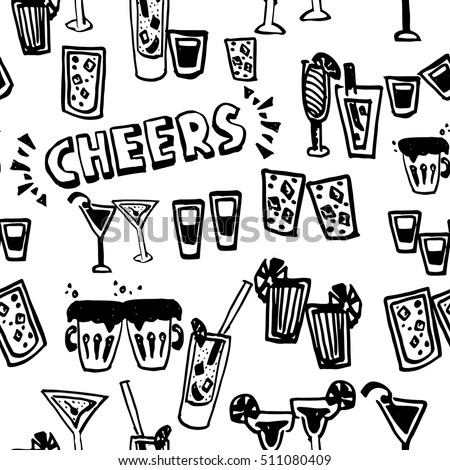 Hand Drawn Pattern Cheers Toasting Vector Stock Vector