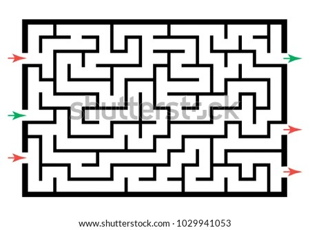 Illustration Labyrinth Maze Conundrum Kids Entry Stock