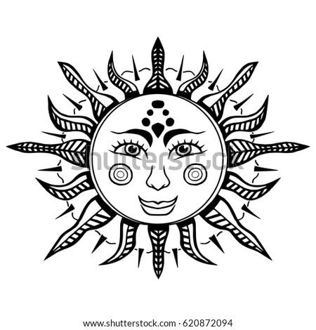 Bohemian Hand Drawn Sun Moon Vector Stock Vector 527868034