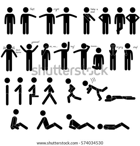 Set 27 Stick Human Figures Body Stock Vector 574034530