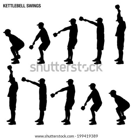 Silhouette Man Swinging Kettlebell Stock Illustration