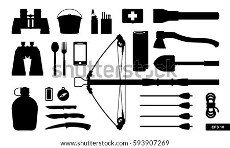 Hunting Outdoor Traditional Equipment Big Set Stock Vector