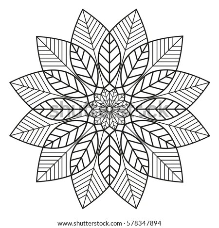 Simple Floral Mandala Pattern Coloring Book Stock Vector