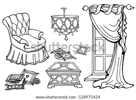 Curtains Sketch Cozy Interior Elements Collection Stock