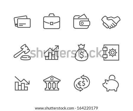 Simple Set Stroked Financial Related Vector Stock Vector