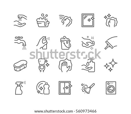 Simple Set Cleaning Related Vector Line Stock Vector