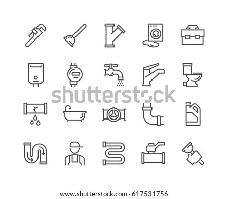 Simple Set Plumber Related Vector Line 库存矢量图(免版税
