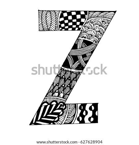 Zentangle Stylized Alphabet Letter N Vector Stock Vector