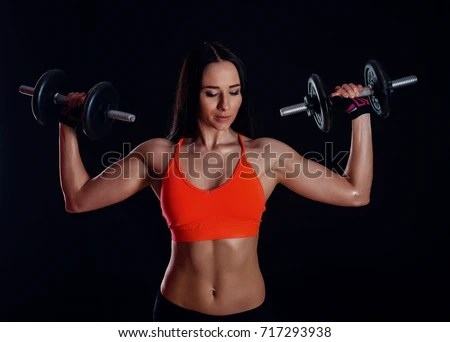 Beautiful Girl Boxing Gloves Posing Gym Stock Photo