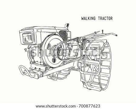 Plows Machine Walking Tractor Cultivated Soil เวกเตอร์