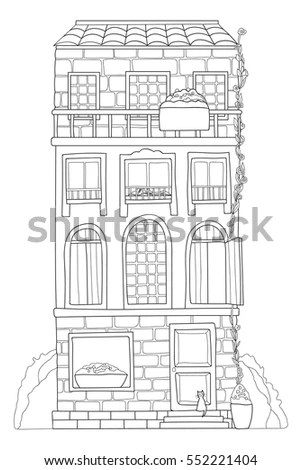 Outline Illustration One Point Perspective View Stock