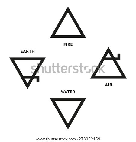 Classical Four Elements Symbols Medieval Alchemy Stock