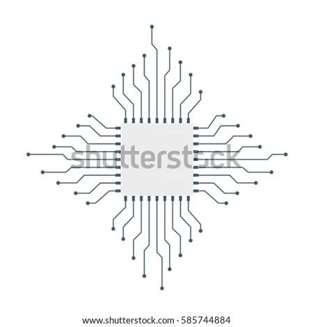 Cpu Microprocessor Microchip Circuit Board Stock Vector