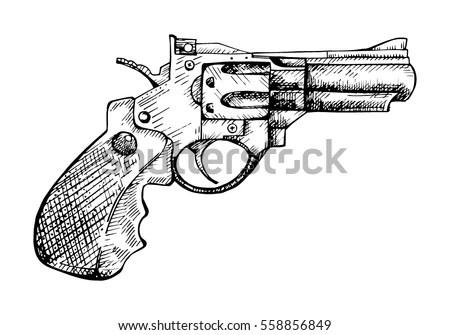 Revolver Vector Engraving Vintage Illustration Firearm