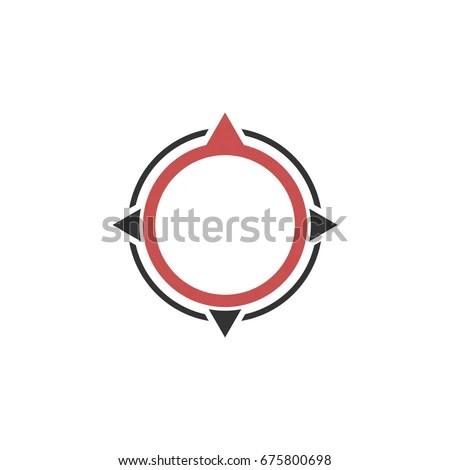 Mountain Compass Logo Design Template Stock Vector