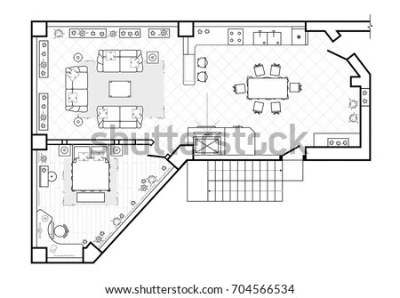 Architecture Plan Furniture Top View Stock Vector