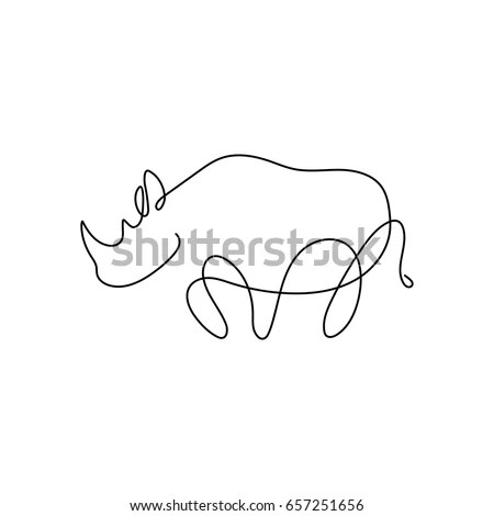 One Line Silhouette Design Rhinohand Drawn Stock Vector