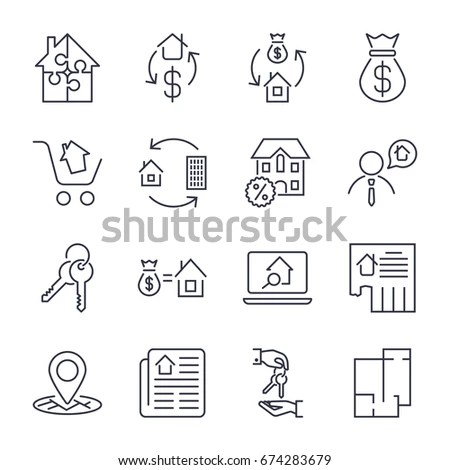 Real Estate Set Outline Vector Icons Stock Vector