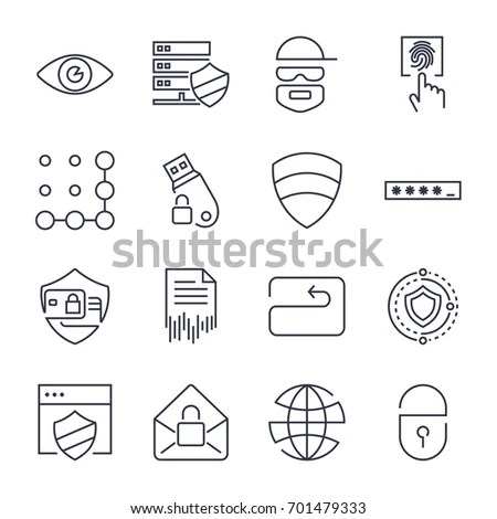 Flat Design Protection Security Icons Set Stock Vector